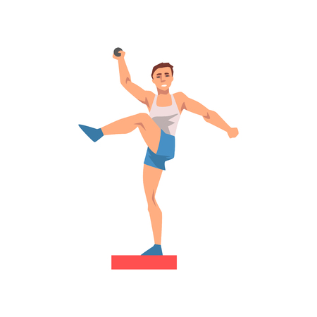 Shot Putter Male Athlete Character in Sports Uniform, Active Sport Healthy Lifestyle Vector Illustration on White Background.