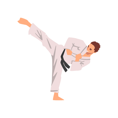 Karate Fighter in Kimono Doing Kick, Male Athlete Character in Sports Uniform, Active Sport Healthy Lifestyle Vector Illustration on White Background.