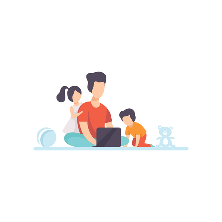 Young Mother Sitting on Floor and Working on Laptop Computer, Her Daughter and Son Playing Next to Her, Freelancer, Parent Working with Child, Mommy Businesswoman Vector Illustration Isolated on White Background.