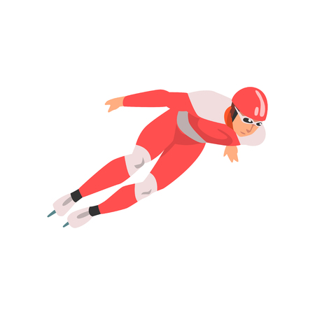 Short Track Speed Skater, Male Athlete Character in Sports Uniform, Active Sport Healthy Lifestyle Vector Illustration on White Background.