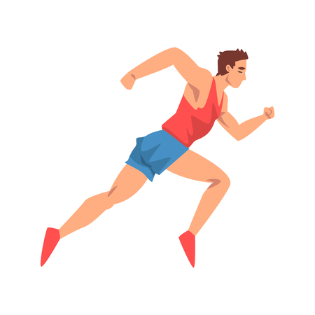 Male Athlete Running, Sportsman Character in Uniform, Side View, Active Sport Healthy Lifestyle Vector Illustration on White Background. Illustration