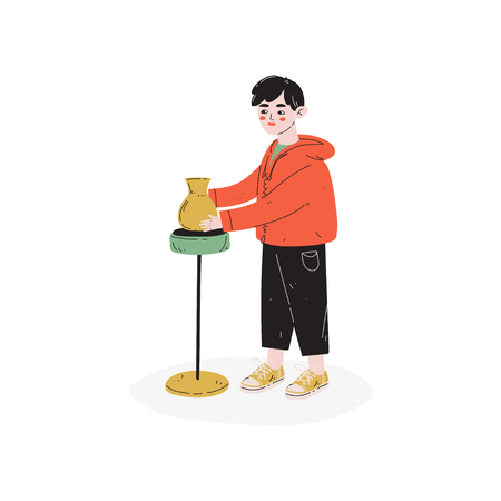 Boy Making Pots, at Pottery Workshop, Hobby, Education, Creative Child Development Vector Illustration on White Background  イラスト・ベクター素材