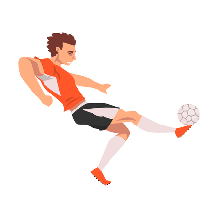 Soccer Player, Male Athlete Character in Sports Uniform, Active Sport Healthy Lifestyle Vector Illustration on White Background.