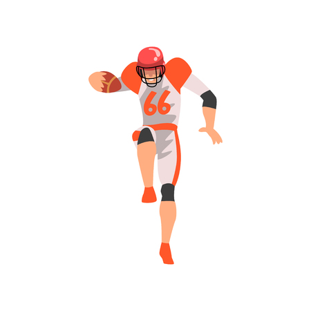 Rugby Player, Male Athlete Character in Sports Uniform and Helmet, Active Sport Healthy Lifestyle Vector Illustration on White Background.