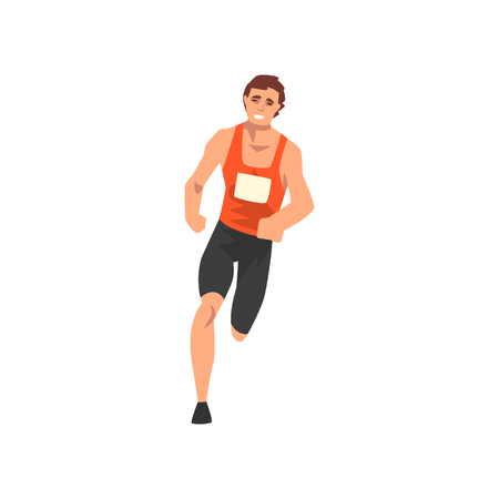 Male Athlete Running Track, Sportsman Character in Uniform, Front View, Active Sport Healthy Lifestyle Vector Illustration on White Background. Çizim