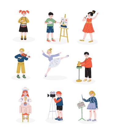 Children and their hobbies set, Boys and Girls Playing Music, Dancing, Singing, Cooking Hobby, Education, Creative Child Development Vector Illustration on White Background Illustration