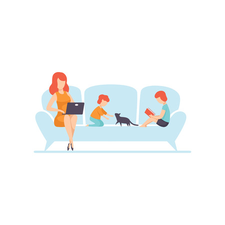 Mother Sitting on Sofa and Working on Laptop Computer, Her Kids Sitting Next to Her, Freelancer, Parent Working with Child, Mommy Businesswoman Vector Illustration Isolated on White Background.