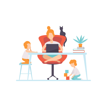 Young Mother Sitting at Desk and Working on Laptop Computer, Her Sons Playing Next to Her, Freelancer, Parent Working with Children, Mommy Businesswoman Vector Illustration Isolated on White Background.