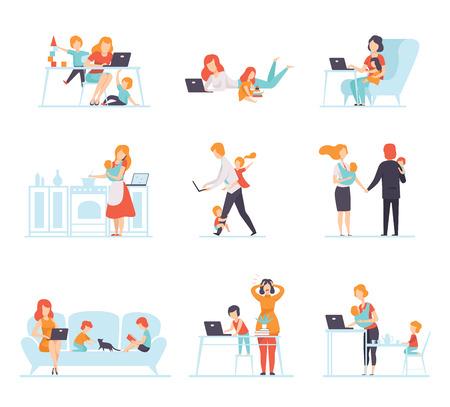Collezione di genitori che lavorano con i loro figli mentre giocano accanto a loro, madri e padri che lavorano con i bambini, illustrazione vettoriale di uomini d'affari isolato su sfondo bianco. Vettoriali