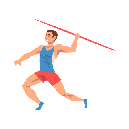 Javelin Thrower Male Athlete Character in Sports Uniform ith Spear, Active Sport Healthy Lifestyle Vector Illustration on White Background. Illustration