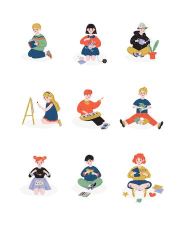 Kinder und ihre Hobbys, Jungen und Mädchen, die sich um Pflanzen kümmern, Lesen, Malen, Handarbeiten, Hobby, Bildung, kreative Kinderentwicklung Vektor-Illustration auf weißem Hintergrund Vektorgrafik