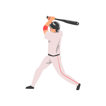 Baseball Player Swinging Bat, Male Athlete Character in Sports Uniform and Helmet, Active Sport Healthy Lifestyle Vector Illustration 일러스트