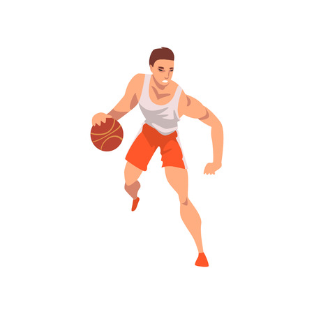 basketball Player Running with Ball, Male Athlete Character in Sports Uniform, Active Sport Healthy Lifestyle Vector Illustration on White Background.