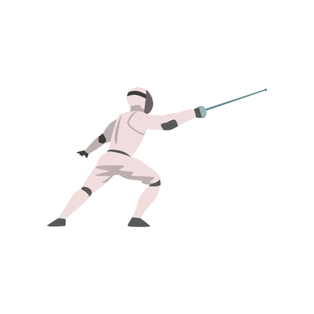 Fencer in Attack with Foil, Male Athlete Character in Sports Uniform, Active Sport Healthy Lifestyle Vector Illustration