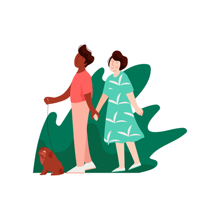 Young Man and Woman Walking Holding Hands on Nature, Multicultural Romantic Couple, Happy Lovers on Date Vector Illustration on White Background. Illustration