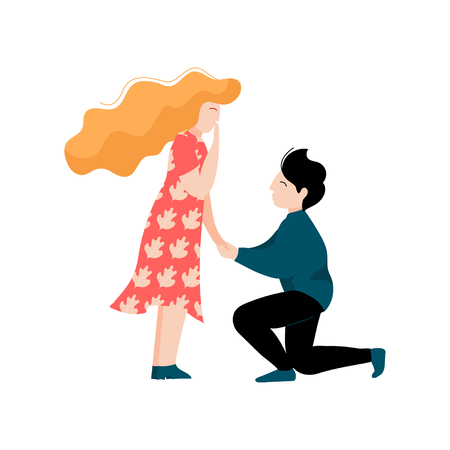 Young Man Making Proposal to His Beloved, Romantic Couple, Happy Lovers on Date Vector Illustration on White Background.