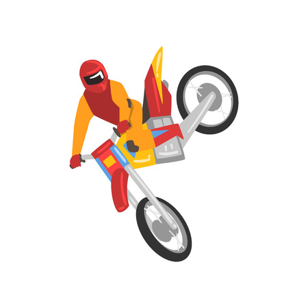 Motorcyclist on Motorbike, Motocross Racing, Sportsman Performing Trick Vector Illustration Isolated on White Background.