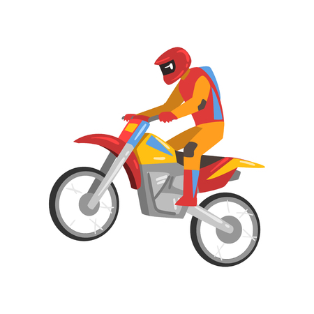 Motorcyclist Driving Motorcycle, Motocross Racing Vector Illustration Isolated on White Background.