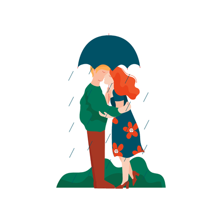 Young Man and Woman Embracing and Kissing under Umbrella, Romantic Couple Walking in Rain, Happy Lovers on Date Vector Illustration on White Background.