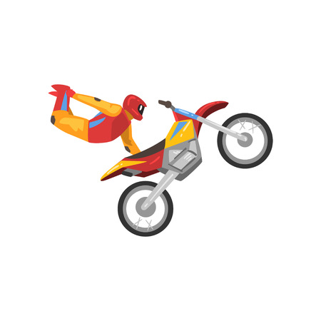 Motorcyclist on Motorbike, Sportsman Performing Trick Vector Illustration Isolated on White Background.