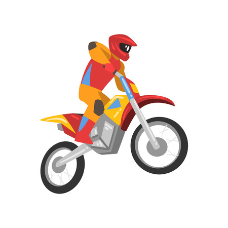 Motorcyclist Driving Motorbike, Motocross Racing Vector Illustration Isolated on White Background.