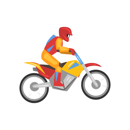 Man Riding Motorbike, Motorcyclist Male Character Side View, Motocross Racing Vector Illustration Isolated on White Background. Иллюстрация