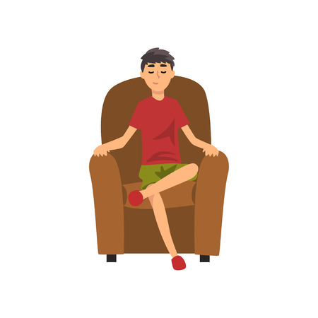 Young Man Sitting on Chair with Closed Eyes, Guy Spending Weekend at Home and Relaxing, Rest at Home Vector Illustration Isolated on White Background.