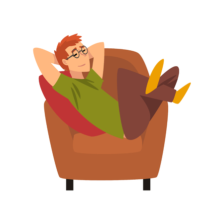 Young Man Sitting on Armchair and Dreaming, Guy Spending Weekend at Home and Relaxing, Rest at Home Vector Illustration Isolated on White Background.