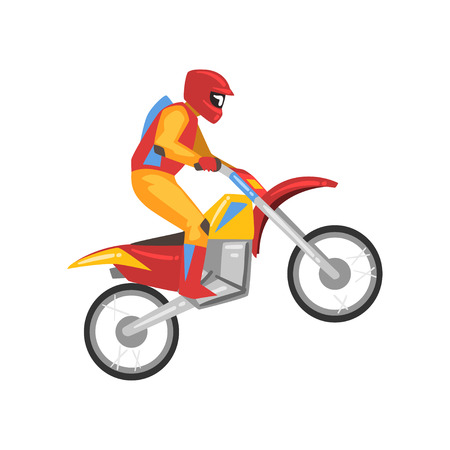 Motorcyclist, Motocross Racing, Motorbiker Male Character Vector Illustration Isolated on White Background. Illustration