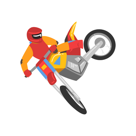 Motorcyclist Driving Motorcycle, Motocross Racing, Motorbiker Male Character Vector Illustration Isolated on White Background. Иллюстрация