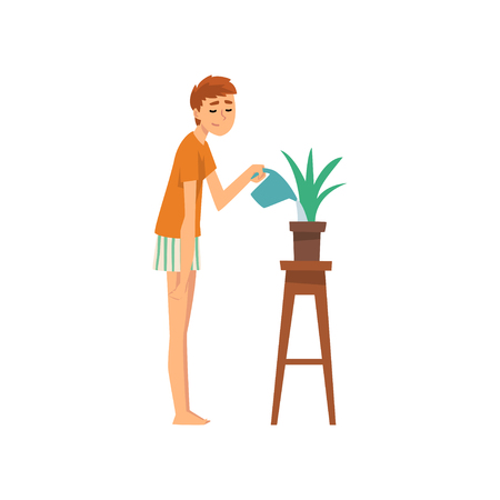Young Man Watering Houseplant, Guy Spending Weekend at Home and Relaxing, Rest at Home Vector Illustration Isolated on White Background. 向量圖像