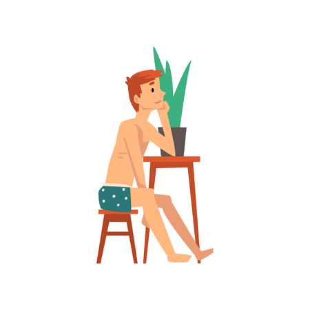 Young Man Sitting at Small Table and Dreaming, Guy Spending Weekend at Home and Relaxing, Rest at Home Vector Illustration Isolated on White Background.