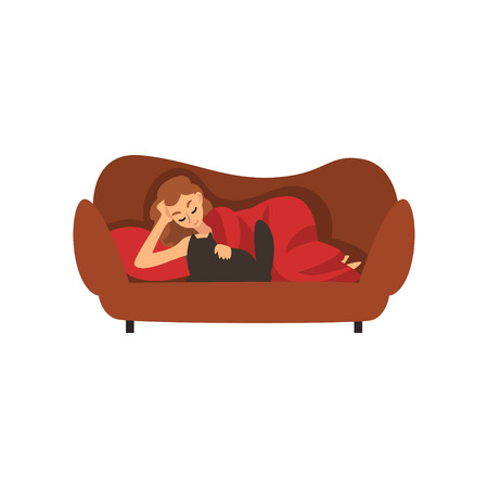Girl Lying on Couch Under Blanket and Stroking Cat, Young Woman Spending Weekend at Home and Relaxing, Rest at Home Vector Illustration Isolated on White Background. Çizim