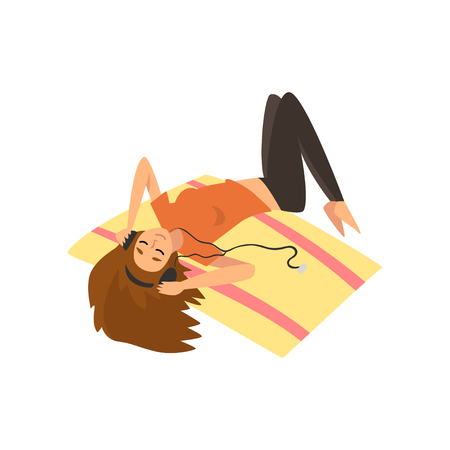 Girl Lying on Floor and Listening Music, Young Woman Spending Weekend at Home and Relaxing, Rest at Home Vector Illustration Isolated on White Background. 向量圖像