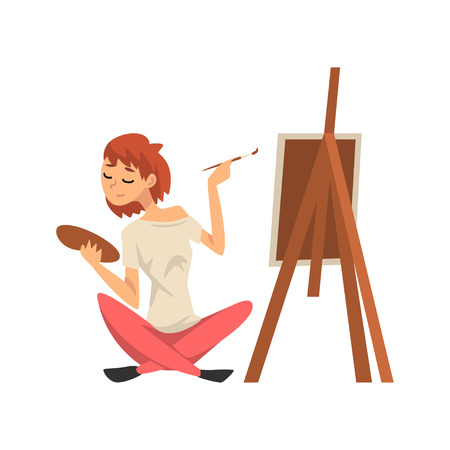 Male Artist Drawing Picture with Brush on Easel, Guy Spending Weekend at Home and Relaxing, Rest at Home Vector Illustration Isolated on White Background.