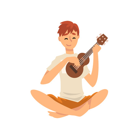 Young Man Sitting on Floor and Playing Ukulele, Guy Spending Weekend at Home and Relaxing, Rest at Home Vector Illustration Isolated on White Background. 向量圖像