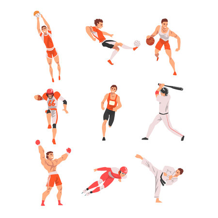 Male Athlete Character in Sports Uniform set, Volleyball, Soccer, Basketball, Baseball, Rugby Players, Karate Fighter, Short Track Skater, Boxer Vector Illustration on White Background.