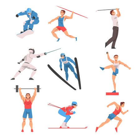 Male Athlete Character in Sports Uniform set, Golf Player, Snowboarder, Javelin Thrower, Fencer, Shot Putter, Weightlifter, Skier Vector Illustration on White Background.