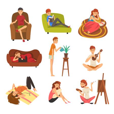 Personnes passant le week-end à la maison et ensemble de détente, homme et femme lisant des livres, allongé, rêvant, se reposant à la maison Illustration vectorielle Vecteurs