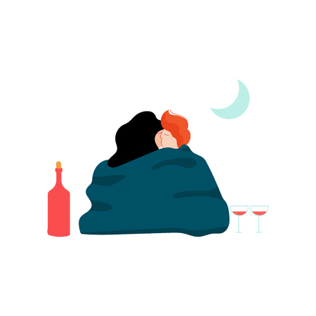 Young Man and Woman Wrapped in Blanket Embracing Each Other at Night Picnic, Romantic Couple, Happy Lovers on Date Vector Illustration on White Background. Illustration