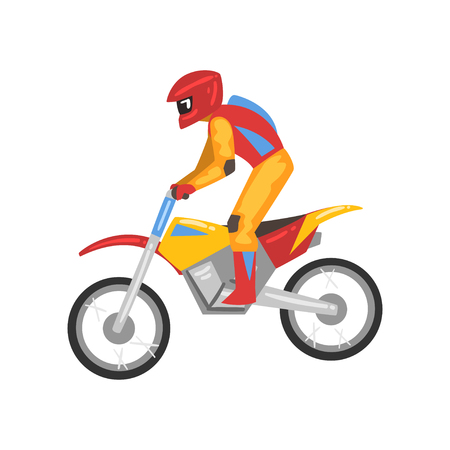 Motorcyclist on Motorbike, Motocross Racing, Motorbiker Male Character Vector Illustration Isolated on White Background.