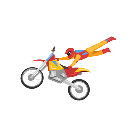 Motorcyclist Riding Motorcycle, Motocross Racing, Motorbiker Male Character Performing Trick Vector Illustration Isolated on White Background.