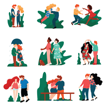 Collection of Happy Young Men and Women on Dates, Romantic Couples Walking, Embracing, Kissing and Holding hands, Happy Lovers on Date Vector Illustration on White Background. Illustration