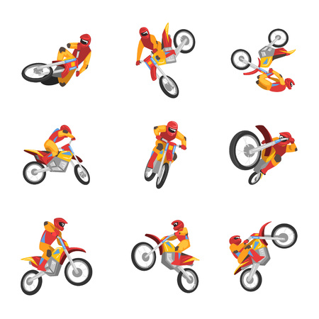 Motorcyclist Driving Motorcycle set, Motocross Racing, Sportsman Performing Tricks Vector Illustration Isolated on White Background. Illustration