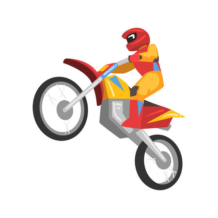 Sportsman Riding Motorbike, Motorcyclist Male Character Vector Illustration Isolated on White Background. Illustration