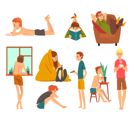 People Spending Weekend at Home and Relaxing Set, Man and Woman Reading Books, Dreaming and Resting at Home Vector Illustration