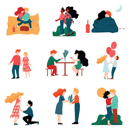 Happy Young Men and Women on Dates Set, Romantic Couples Embracing, Kissing and Holding hands, Happy Lovers on Date Vector Illustration