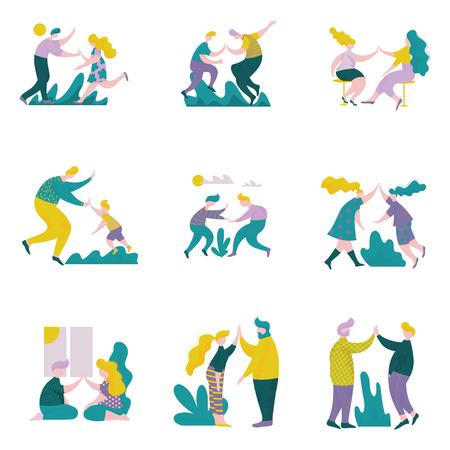 Hombres y mujeres jóvenes que dan cinco el uno al otro, personajes masculinos y femeninos que se divierten, interacción humana, amistad, trabajo en equipo, cooperación ilustración vectorial sobre fondo blanco. Ilustración de vector