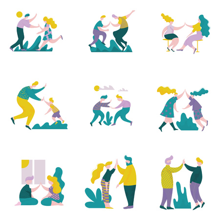 Young Men and Women Giving High Five to Each Other Set, Male and Female Characters Having Fun, Human Interaction, Friendship, Teamwork, Cooperation Vector Illustration on White Background. Vettoriali
