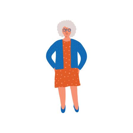 Elderly Grey Woman, Senior Lady Standing with Glasses Vector Illustration on White Background. Illustration